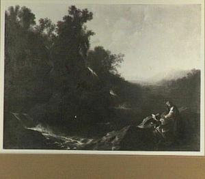 Berglandschap met H. Rosalia van Palermo, haar gelofte van kuisheid in een steen hakkend