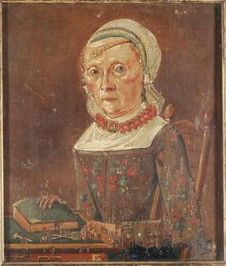 Portret van een vrouw naaiende aan tafel