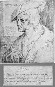 Borststuk van een man met baret, naar links, voor een raam