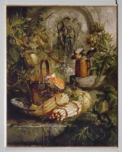 Stilleven met asperges en een meloen bij een waterbron