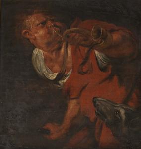 Studie van een man, die op een jachthoorn blaast