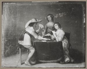 Elegant kaartend gezelschap in een interieur