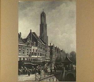 Gezicht op de Vismarkt te Utrecht