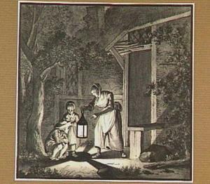Nachtelijk tafereel met vrouw en kinderen voor een huis