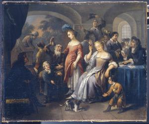 Vrolijk gezelschap in een bordeel met kaartspelers en een oude man die een jonge vrouw een zak geld aanbiedt