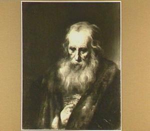 Portret van een baardige grijsaard met bontkraag