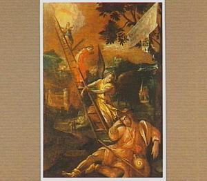 Jacob ziet in zijn droom engelen via een lader uit de hemel afdalen naar de aarde (Genesis 28:10-22)