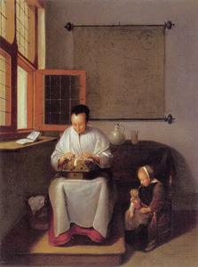 Kantklossende vrouw en een meisje met een pop in een interieur