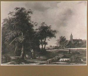 Boslandschap met een vrouw bij een waterput, rechts een kerk