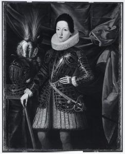 Portret van Ferdinand II de' Medici als jongen in wapenrusting