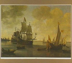 Statenjacht van Willem II op de rede van een stad