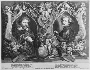 De portretten van Peter Paul Rubens en Anthony van Dyck gekoppeld in een allegorische omlijsting