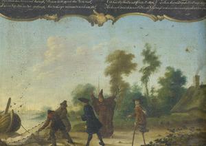 Allegorie op de vrije liefde: een heer, een monnik en een bedelaar sprekend met twee vissers die een vrouw in een net gevangen hebben