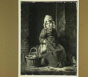 Een asperges verkopend meisje op de stoep