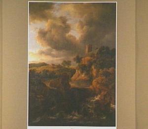 Berglandschap met een waterval, op de achtergrond een kerk