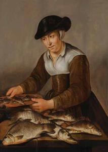 Vissersvrouw met snoek, baars en andere zoetwatervissen op een tafel