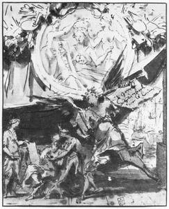 Allegorische voorstelling met de schilderkunst en de faam