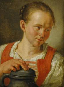 Jonge vrouw met een urn