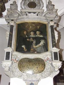 Portret van Hans Rostgaard (1625-1684) met zijn eerste twee vrouwen Kirsten Pedersdatter (1637-1668) en Cathrine Asmusdatter (1636-1672)