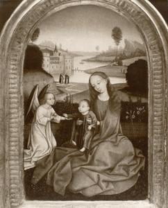 Maria met kind en een engel. In de achtergrond twee dominicanen