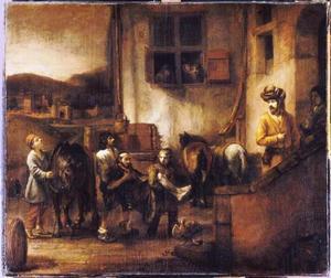 De barmhartige Samaritaan brengt de gewonde reiziger naar de herberg