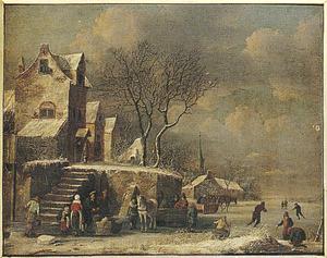 Winterlandschap met sledes en schaatsers op het ijs bij een dorp