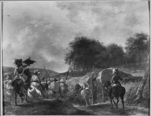 Landschap met soldaten onderweg