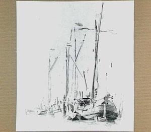Hollandse vissersschepen voor anker