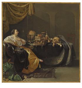 Jonge vrouw in een interieur met vanitassymbolen