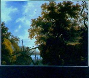 Reizigers op een brug over een rivier