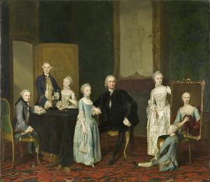 Portret van Pieter Cornelis Hasselaer (1720-1797) met zijn kinderen