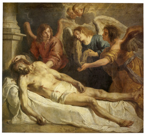 Christus door engelen beweend