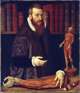 Portret van de Neurenbergse stadsarts en anatoom Volcher Coiter (1534-1576)