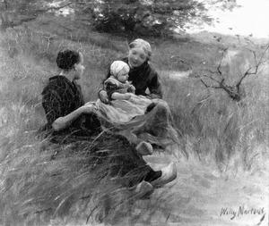 Twee zittende meisjes met kind