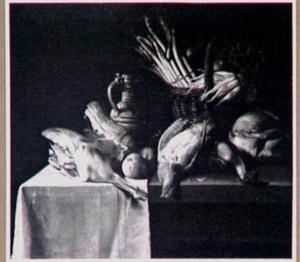 Stilleven van gevogelte en asperges