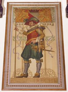 Schutter met vaandel voorzien van het wapen van de gemeente Utrecht