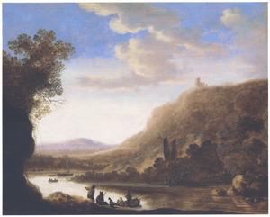 Berglandschap met herder en reizigers op de oever van een rivier