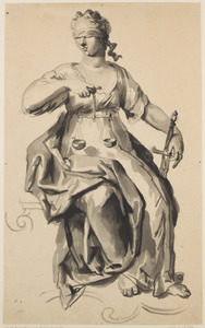 Vrouwe Justitia, zittend
