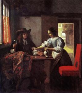Man met een glas en vrouw met een kruik in een interieur