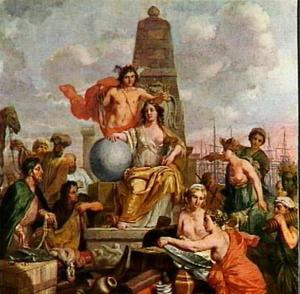De Amsterdamse stedemaagd ontvangt de hulde der volkeren van Oost en West