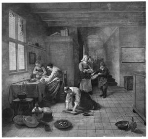 Interieur met vrouwen die vis schoonmaken en kip bereiden