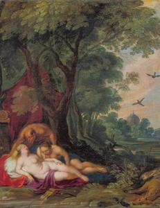 Boslandschap met de slapende Diana en haar nimf bespied door een sater