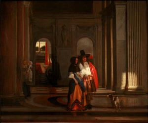 Koppel wandelend door de galerij in het stadhuis van Amsterdam