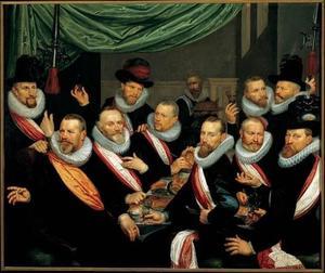 Groepsportret van officieren en onderofficieren van de Officieren van de St.Jorisdoelen, Haarlem 1619