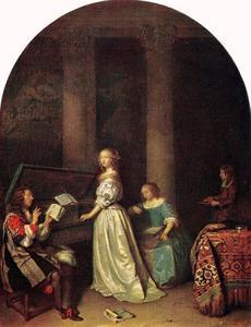 Virginaal spelende vrouw en een zanger