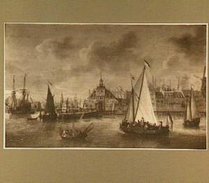 Schepen op de Maas bij Rotterdam voor de Ooster Oude Hoofdpoort