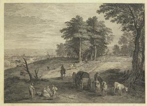 Landschap met boeren, reizigers en herders