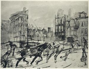 Zwoegende paarden in de sneeuw