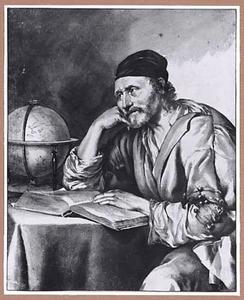 Zittende astronoom met boek en globe