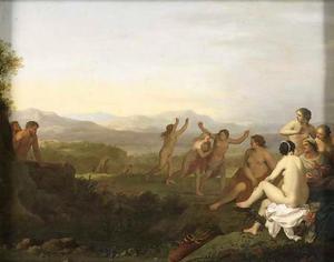 Italianiserend bergachtig landschap met imfen door satyrs bespied